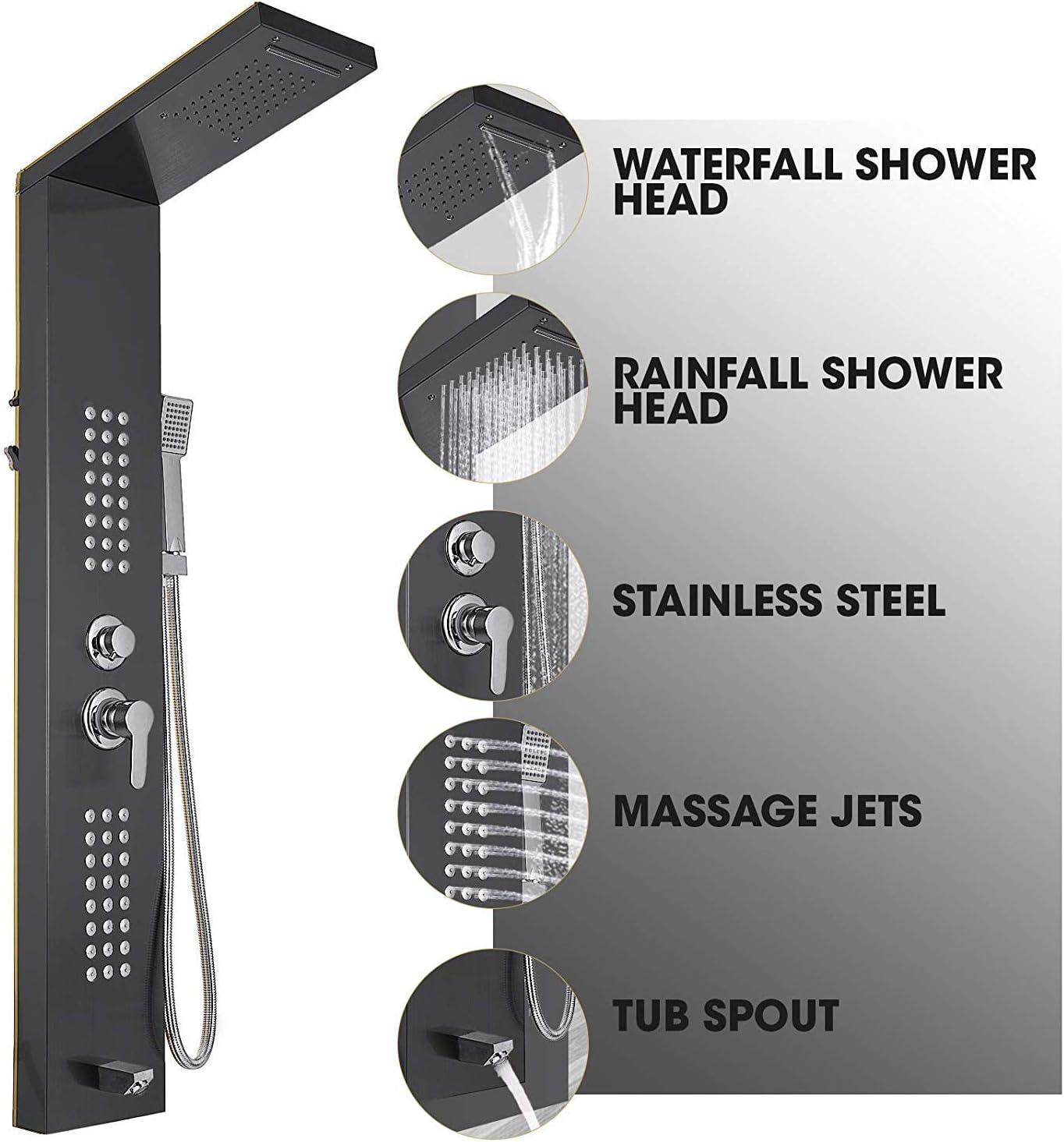 5 in 1 Duschsäule Kopfbraus Regenduschensäule Hydromassage Wasserfall Handbrause