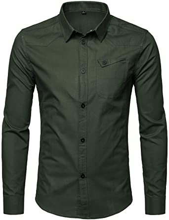 426d312f8c ZEROYAA Men's Retro Tactical Style Snap Button Cotton Long Sleeve Button  Down Shirts with Pocket ZXCL03