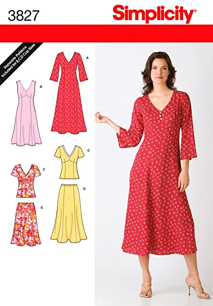 Amazon.com: Simplicity Sewing Pattern 3827 Miss/Plus Size Dresses ...