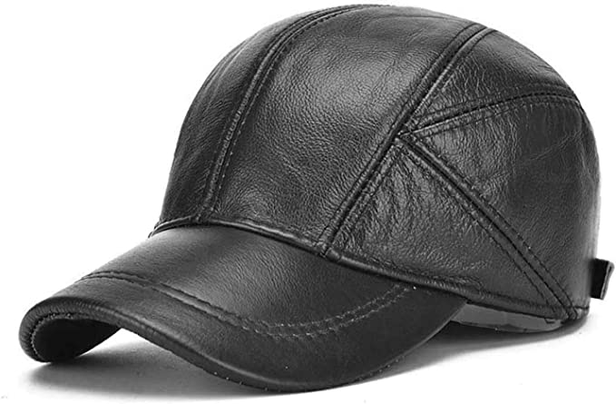 Unisex Baseball Cap Adult Genuine Warm Real Cow Leather Casual Adjustable Hats