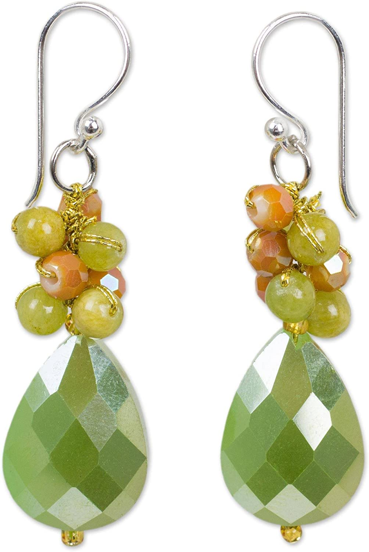NOVICA Quartz Silver Plated Beaded Hook Earrings 'Leafy Garden'