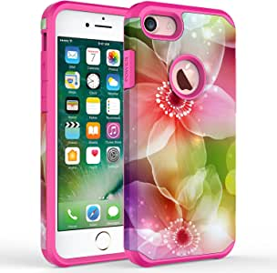 iPhone 7 Plus case, iPhone 6/6S Plus Case, Kaesar [Slim Fit] [Shock Absorption] Hybrid Dual Layer Shockproof Cover Graphic Fashion Colorful Silicone Skin Case for Apple iPhone 7 Plus - Dream flower