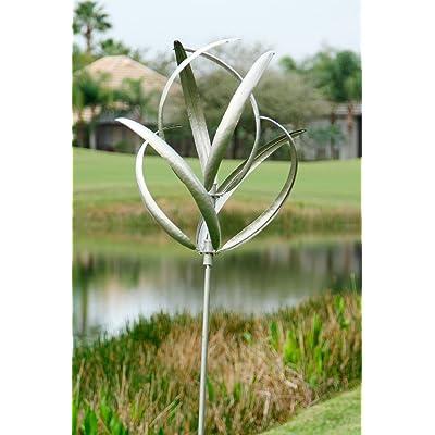 Marshall Home and Garden Cheyenne Wind Spinner, Silver : Garden & Outdoor