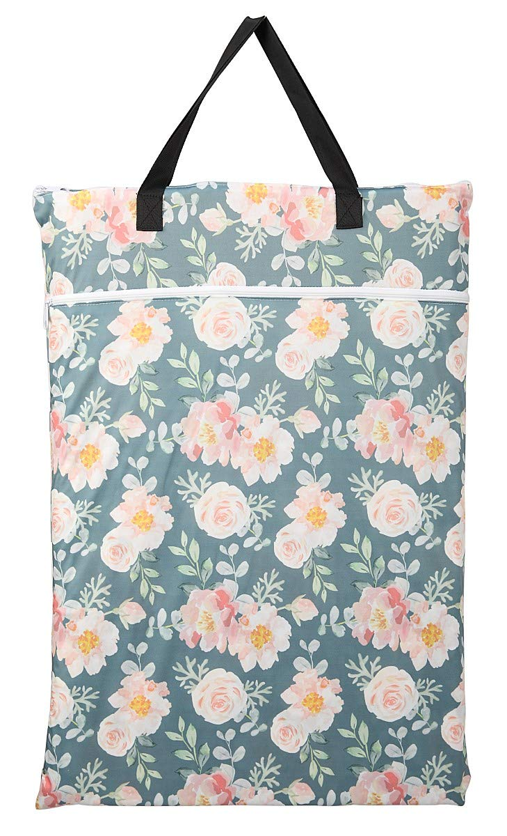 Large Hanging Wet/Dry Cloth Diaper Pail Bag for Reusable Diapers or Laundry (Rose) by Hibaby