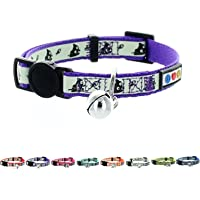 Pawtitas Glow in The Dark Cat Collar with Safety Buckle and Removable Bell Cat Collar Kitten Collar Purple Cat Collar