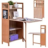 Tangkula Convertible Desk Wood Fold Out Cabinet Laptop Computer Desk with Shelf