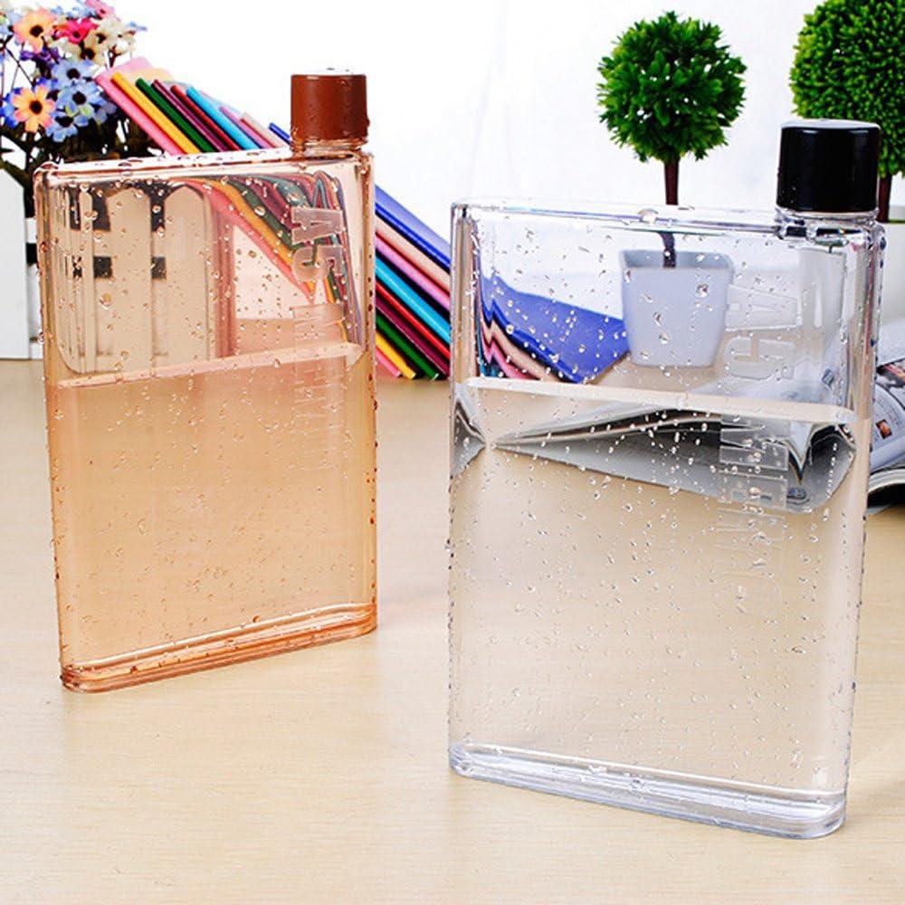 Borraccia Portatile in PVC Alimentare Trasparente 350 ml Fiaschetta Trasparente dal Design Innovativo e Ultrapiatto a Contenuto Visibile Ducomi A6 Bottle
