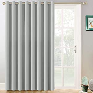 Yakamok Sliding Door Insulated Curtain,Room Divider Curtain, Vertical Blinds for Dinding Room with Grommet Top,Wide Blackout Patio Door Curtain Panel(Light Grey, 100 by 84 Inches,1 Panel)