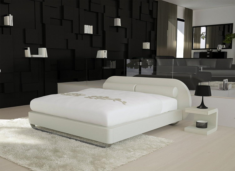 SAM® Design Boxspringbett Moove weiß mit 7-Zonen H3 Taschenfederkern-Matratze, Chrom-Füße, optimale Einstiegshöhe 180 x 200 cm