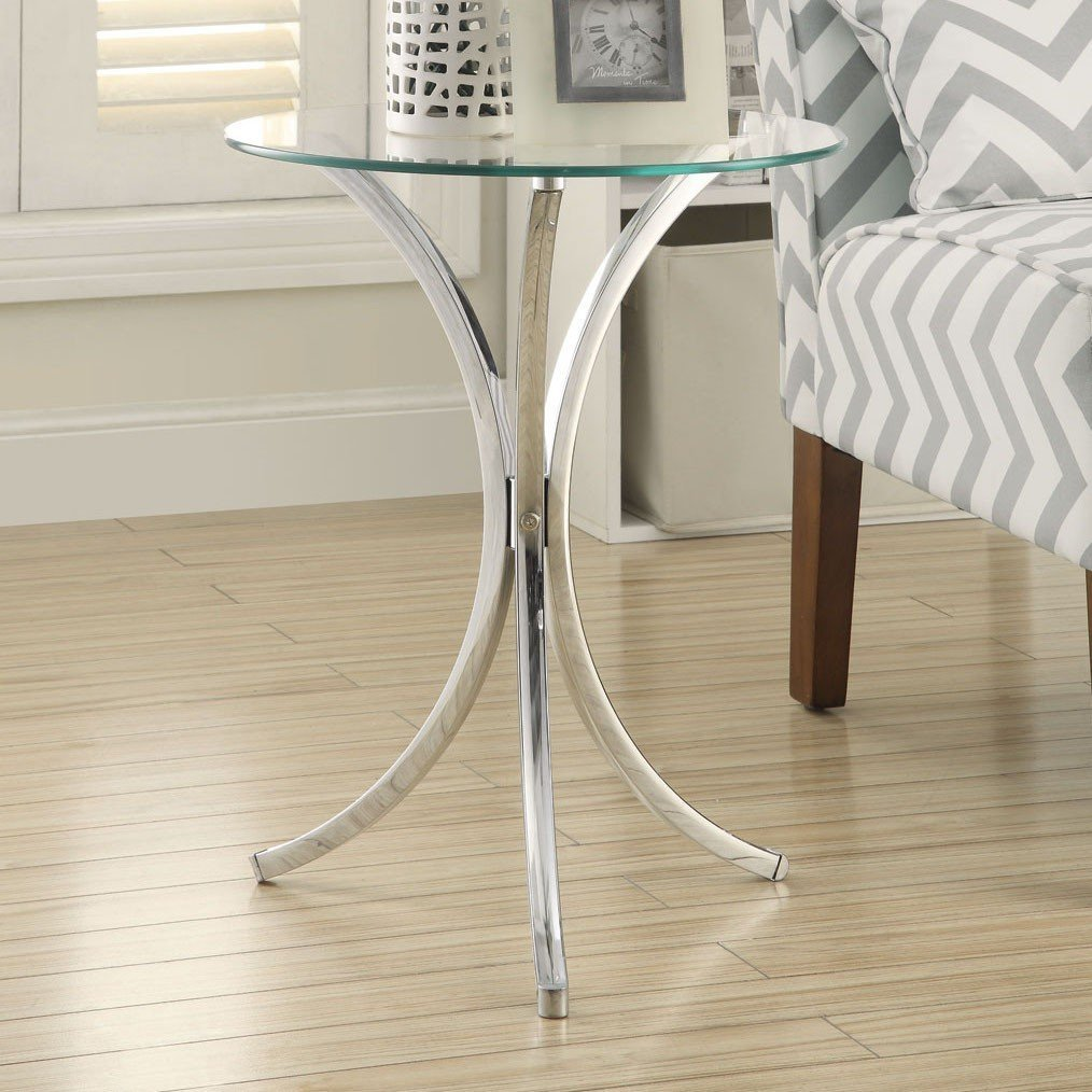 Glass Top Chrome Base Round Side End Table eHomeProducts 902869