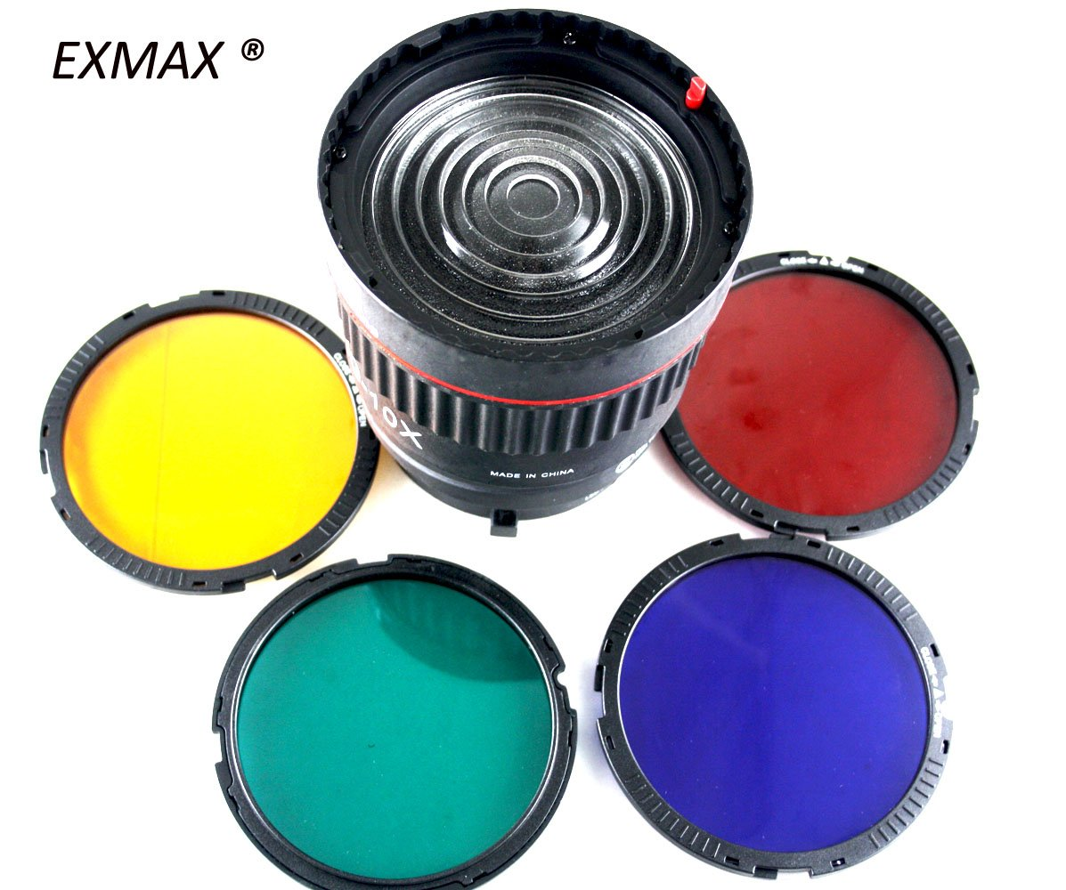EXMAX EX-10X LED Studio Focusing Lens 10X Studio Light Focus Mount Lens Adjust for Flash & LED Light With 4 Color Filters