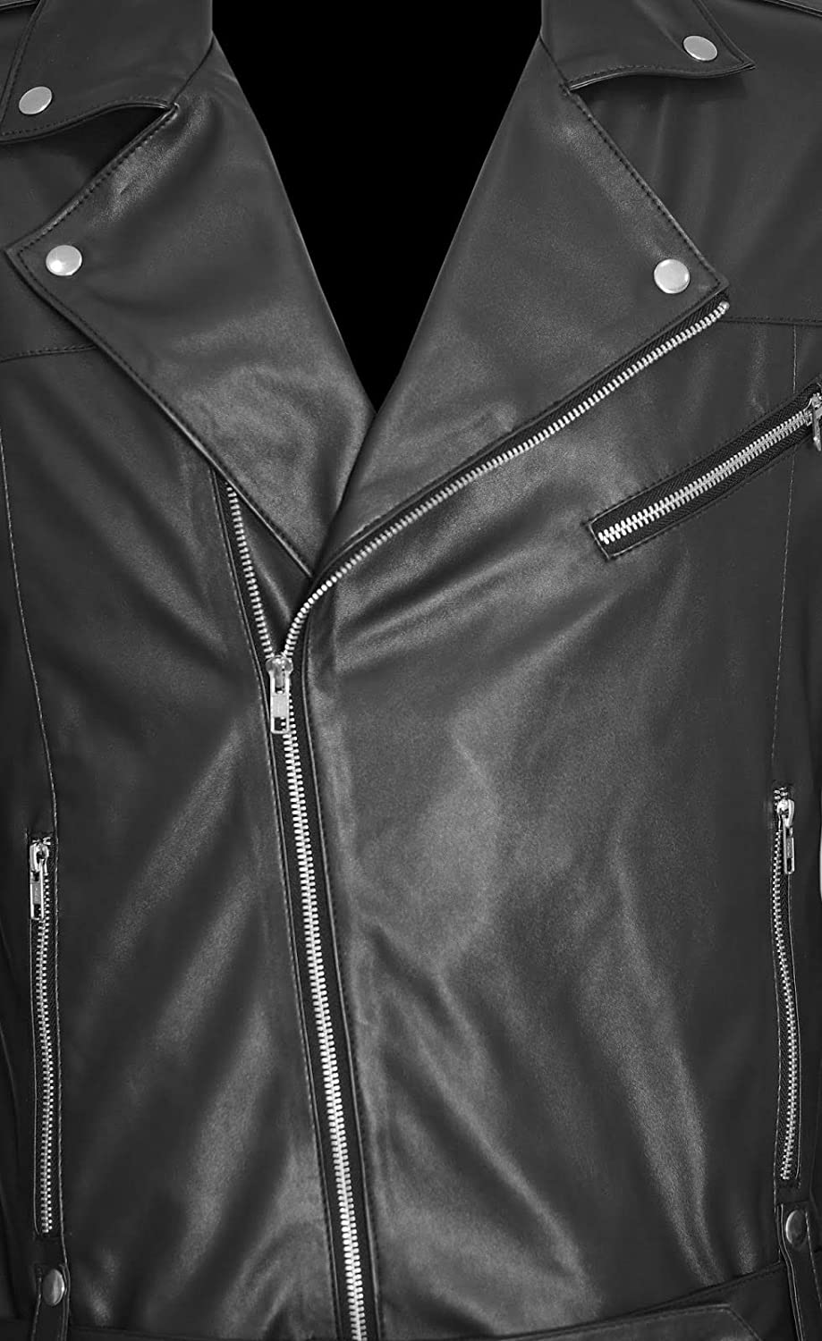 H&A Collections Freedom Mens Black Biker Leather Jacket - Big and tall leather jacket Black