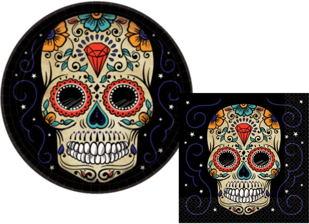 Sugar Skull Day of the Dead Lunch Napkins Halloween Party Tableware 32 ct.