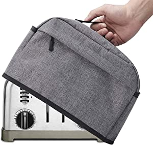 4 Slice Toaster Cover with Zipper & Open Pockets Kitchen Small Appliance Cover with Handle, Toaster Dust CoverCan Hold Jam Spreader Knife & Toaster Tongs, Machine Washable, Gre