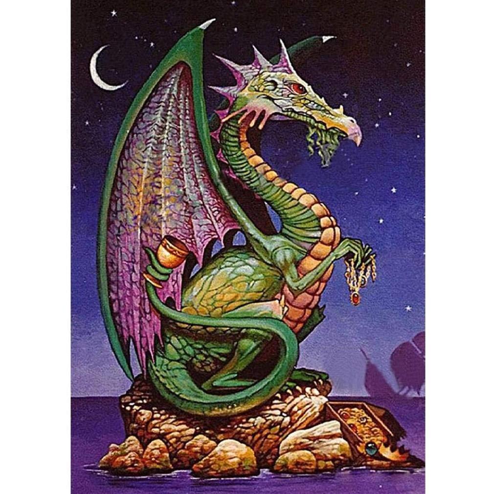 Windoson Dragon 5D ダイヤモンドペインティングキット DIYダイヤモンドクロスステッチ ペイントナンバー キット 大人 5D ダイヤモンドクリスタルラインストーン 刺繍ペイントキット DIY ウォールアート 装飾 30 * 40cm. B07GVK5MYB Dragon B