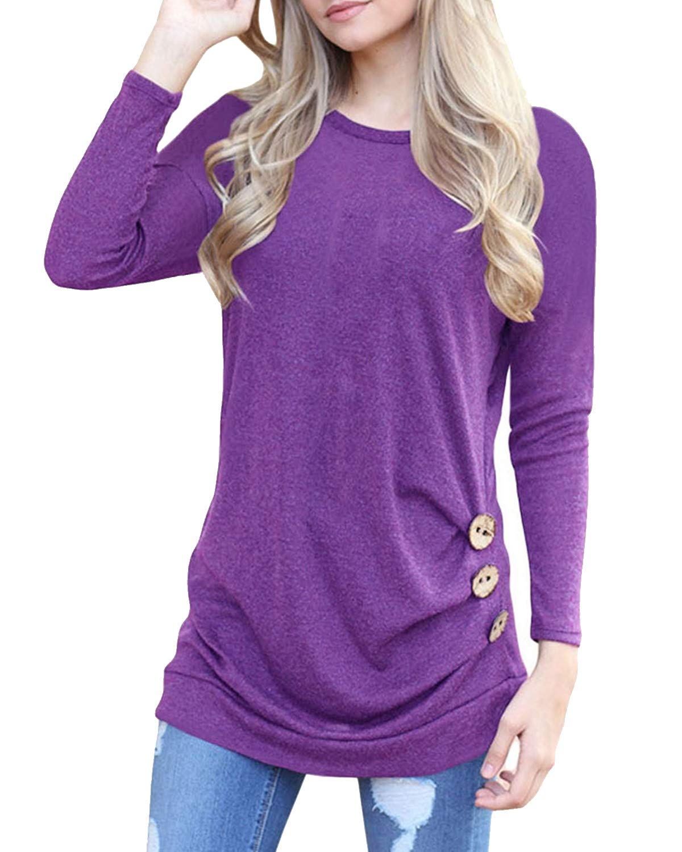 deesdail Womens Long Sleeve Casual T Shirts Button Trim Loose Tunic Tops Purple