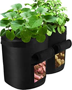 3 pcs Potato Grow Bag, 7 Gallon Aeration Waterproof Fabric Sweet Potato Planter, Vegetable Peanut Growing Box Bucket Pot for Nursery Garden