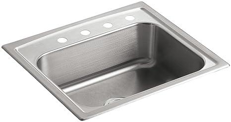 KOHLER K-3348-4-NA Toccata Single-Basin Self-Rimming Kitchen Sink,  Stainless Steel