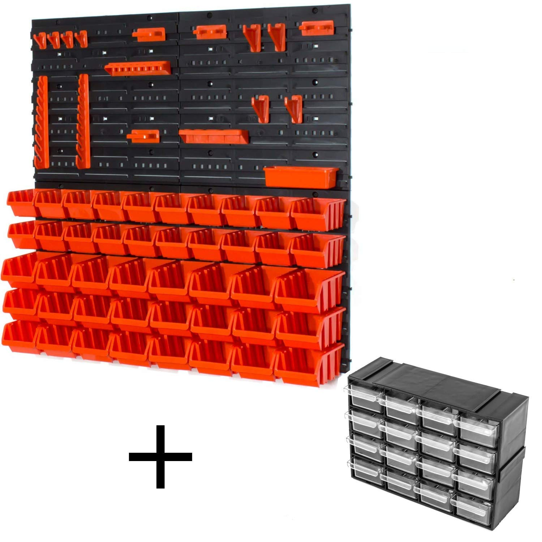 Set of 20 orange/noir XS and 24 black/orange S size IN-Box storage bins louvre Prosperplast
