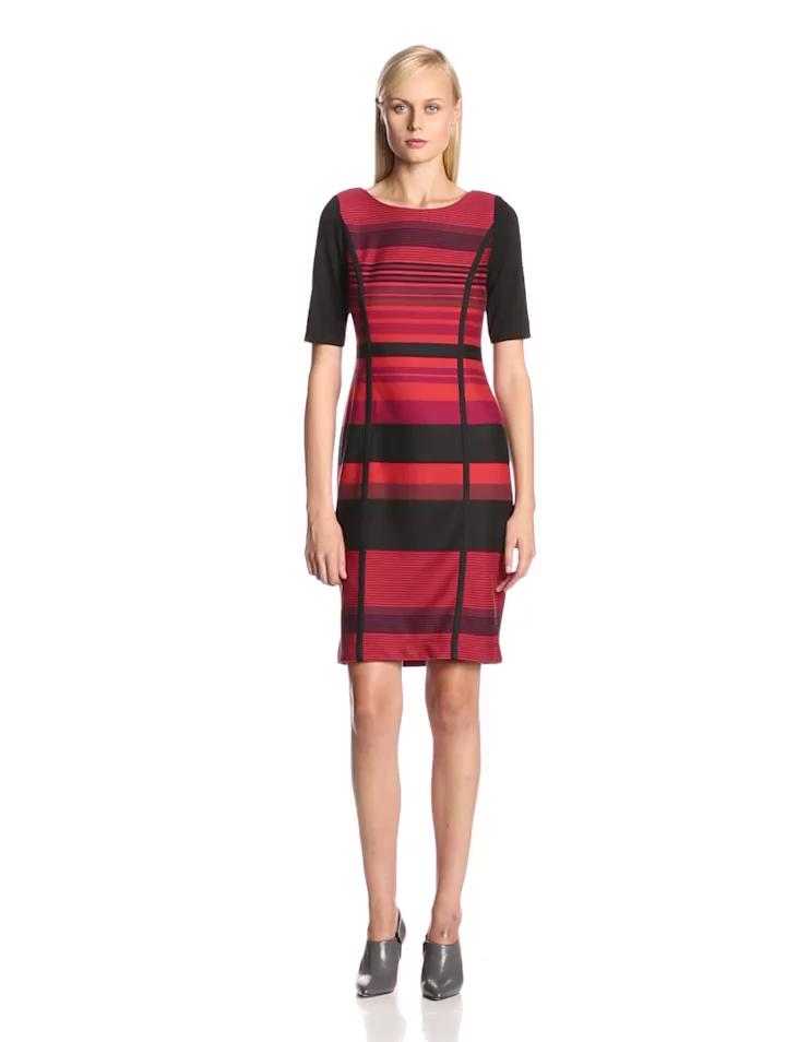 Julian Taylor Women's Elbow Sleeve Printed Stripe Sheath Dress, Brick/Black, 12