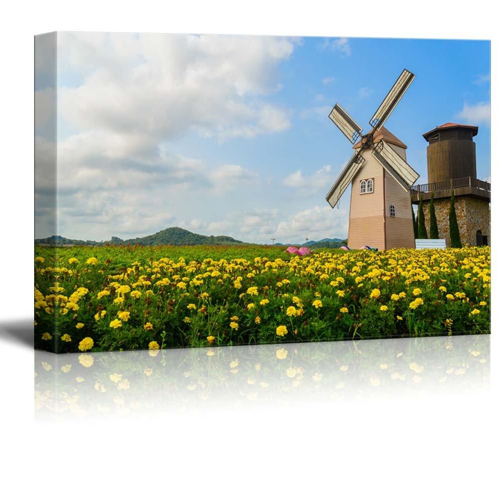 Beautiful scenery of wind turbine the field with yellow flowers wall beautiful scenery of wind turbine the field with yellow flowers wall decor izmirmasajfo