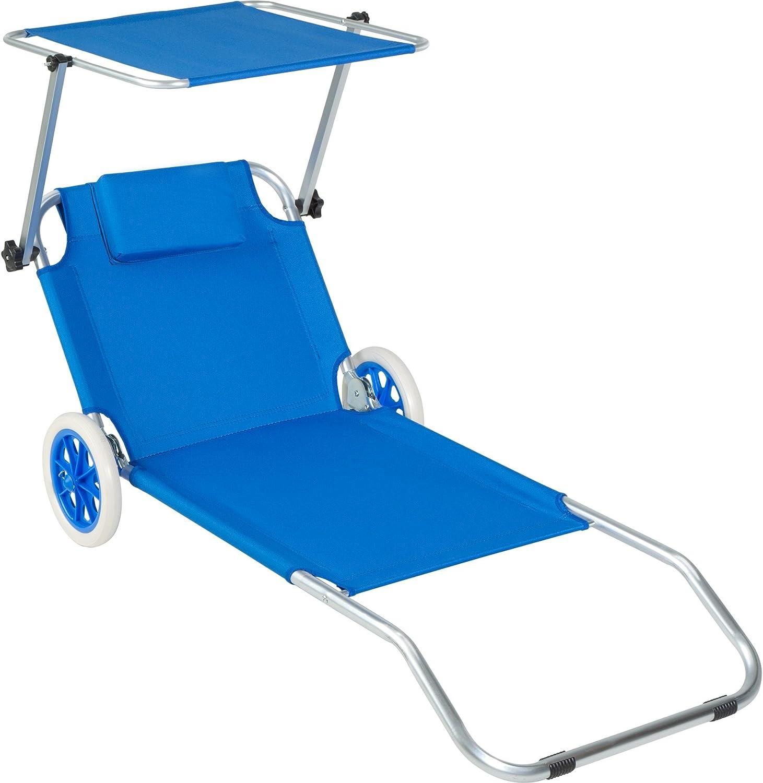 TecTake Tumbona de Playa con Ruedas | Sillas de Playa con Parasol | 176 cm (Azul | Nr. 402784)