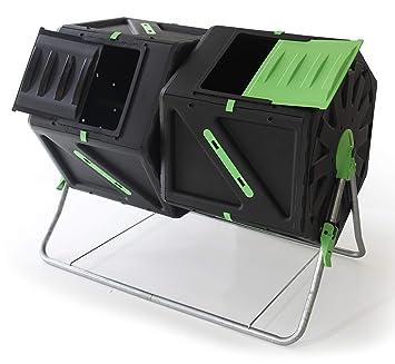 UPP compostador de tambor con 2 cámaras cada compostador térmico de 105 l con ventilación interna acelera la producción de compost / fertilizante orgánico ...