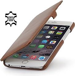 StilGut Book Type, housse en cuir avec clip pour iPhone 6s Plus (5.5 pouces), cognac