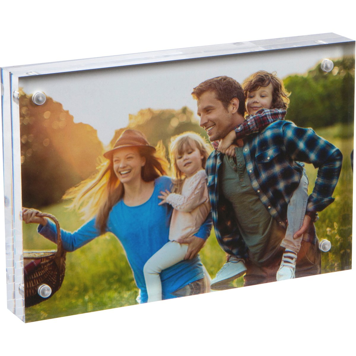 SimbaLux Magnetic Acrylic Picture Photo Frame 4x6 inches, Clear Glass Like, Double Sided Frameless Desktop Floating Display, Free Standing, Easy Change, for Family, Postcards, 4 by 6, 2cm Thick 4 by 6