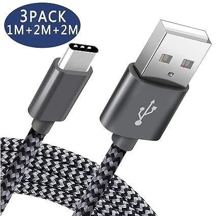 Cargador USB Tipo C Pavoma [3-Pack,1M+2M+2M] Cable USB C de Nylon Carga Rápida y Sincronización Compatible con Samsung Galaxy S9/S8+/Note 8,Huawei ...