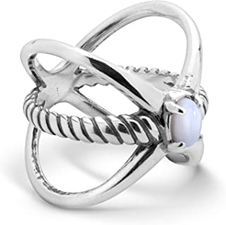 product image for Carolyn Pollack Sterling Silver & Gemstone Rope XO Ring Size 5 to 10 - Choice of Gemstone
