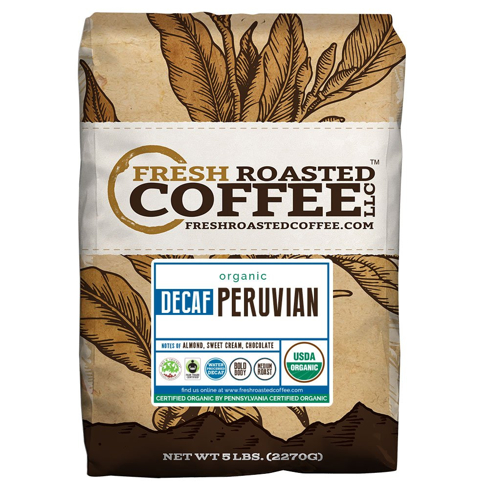 Peruvian Decaf Organic Fair Trade Coffee - SMBC, Whole Bean, Water Processed Decaf Coffee, Fresh Roasted Coffee LLC. (5 lb.) by Fresh Roasted Coffee