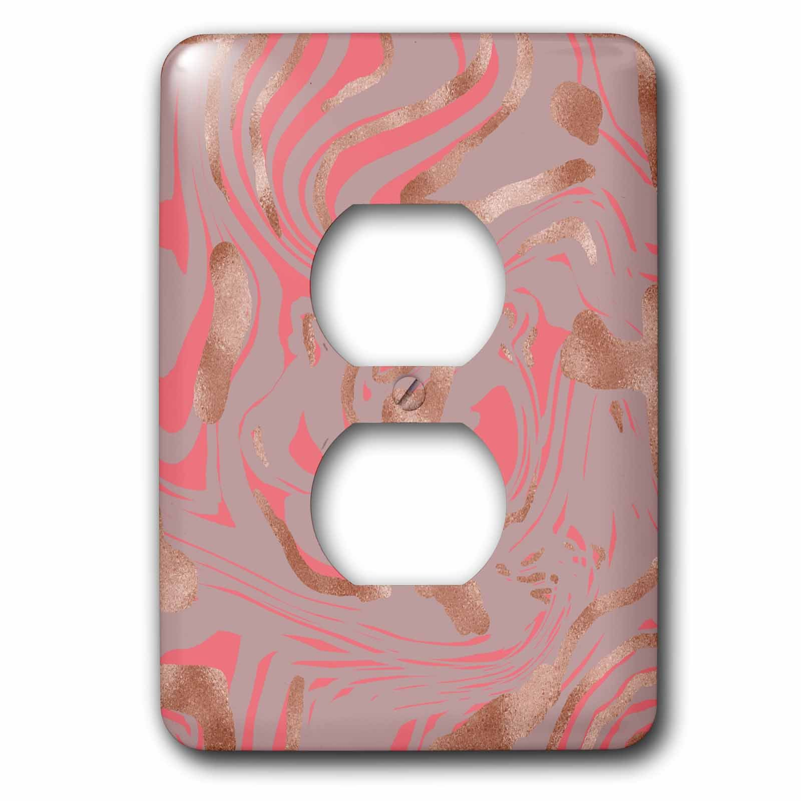 3dRose Anne Marie Baugh - Pattern - Image of Bronze and Pink Marbling On A Purple Background - Light Switch Covers - 2 plug outlet cover (lsp_267601_6)