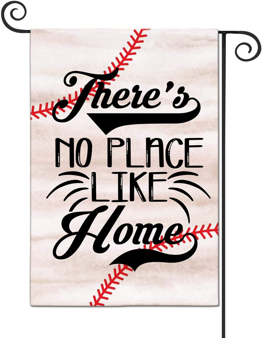 LHMUYU Theres No Place Like Home Baseball Home Decoration Garden Yard Flags Sign for Indoor and Outdoor Polyester Flag Double Sided 12 x 18 Inch
