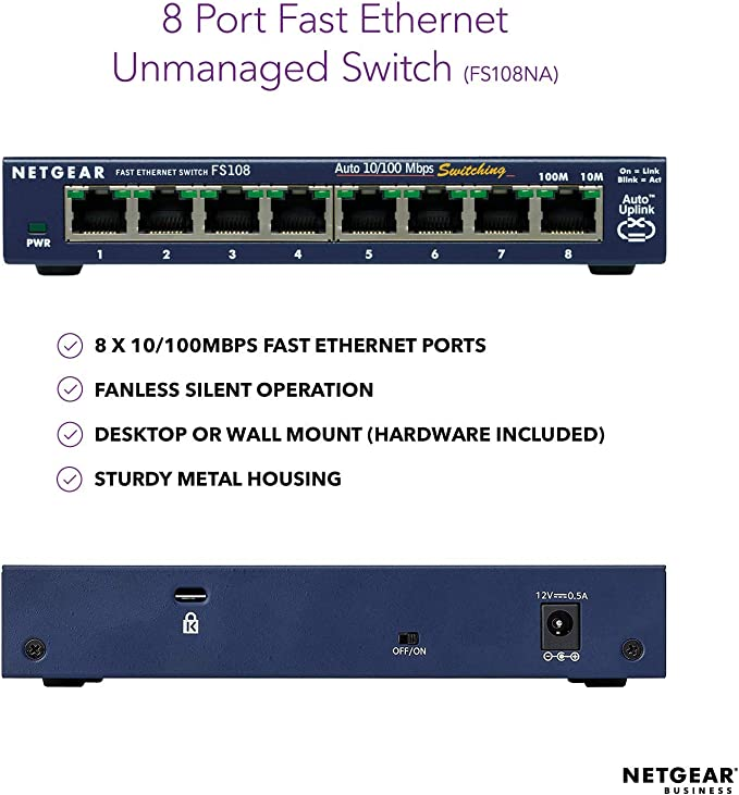 NETGEAR FS108-300UKS ProSAFE 8 port Fast Ethernet 10//100 Unmanaged Switch Blue