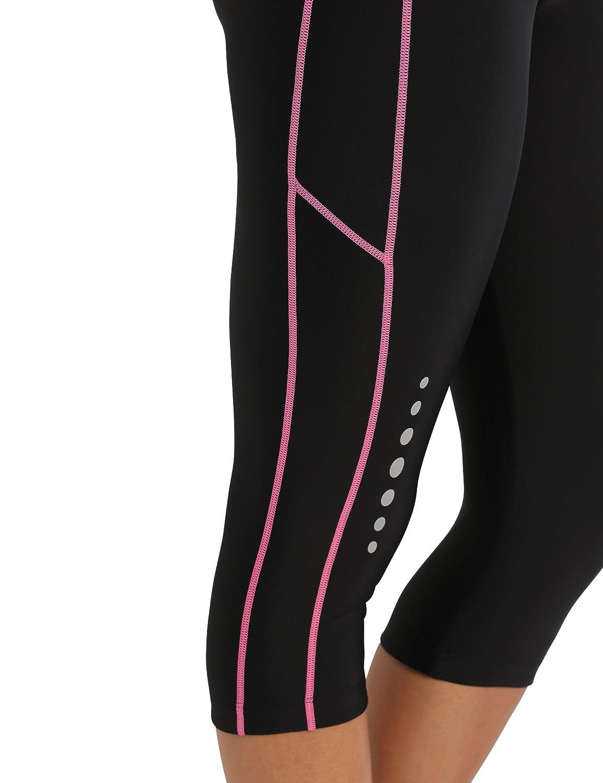 Nero//Neon Giallo M Ultrasport Panta jogging 3//4 per donna con effetto compressivo e funzione Quick Dry