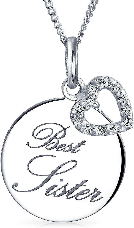 Bling Jewelry Grabado Palabra Corazón Mejor Hermana Collar del del Círculo Mujer Adolescente con Disco Plata 925 Personalizado
