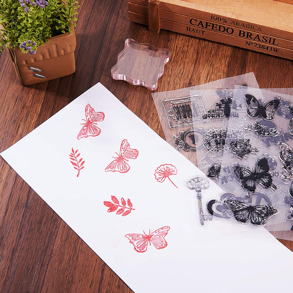 PH PandaHall 4 Sheets Clear Silicone Stamps Alphabet Calendar Symbol Stamp Seal Set with Square Acrylic Block Pad for Cards Making DIY Scrapbooking Photo