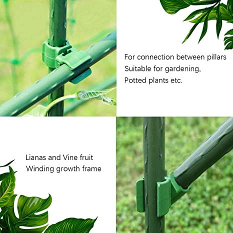 Sirozi 24 Pcs Plant Trellis Connector Clip Rotatable Adjustable Green Climbing Vine Connector Bracket Parts Greenhouse Flower Fastener Buckle for Tomato Cage Plant Stakes 11mm