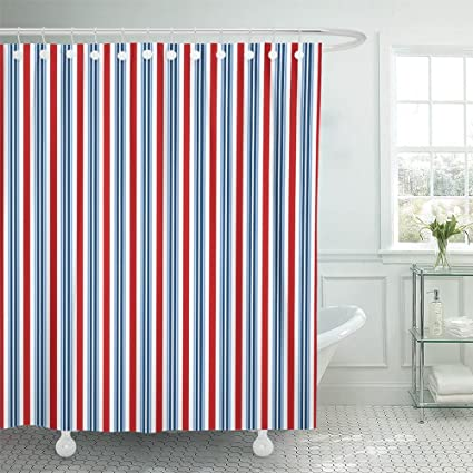 Emvency Americana Bright Red White Blue Stripe 4Th America American Celebrate Celebration Circus Day Waterproof Shower