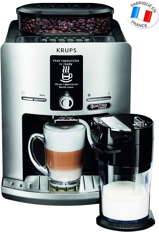 Krups - Máquina de café trituradora de granos expresso con espumador de leche, tarro de acero inoxidable para cafetera, café, granos a presión Profesional plateado: Amazon.es: Hogar