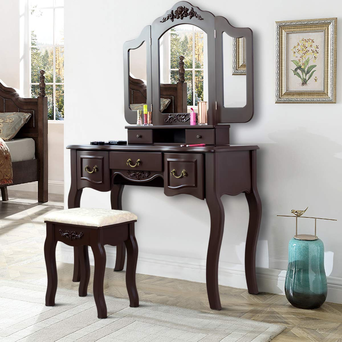 Giantex Vanity Dressing Table Set with Stool, Tri Folding Vintage Vanity Makeup Dressing Table Set 5 Drawers Christmas, Large Vanities with Bench (Brown)