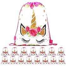 RLGPBON 16 Piezas Unicornio Bolsa Regalo Bolsa de Cuerdas Unicornio Bolsa con cordón Mochila Bolsa Dulces Gimnasio Backpack para Infantil Niñas Fiesta ...
