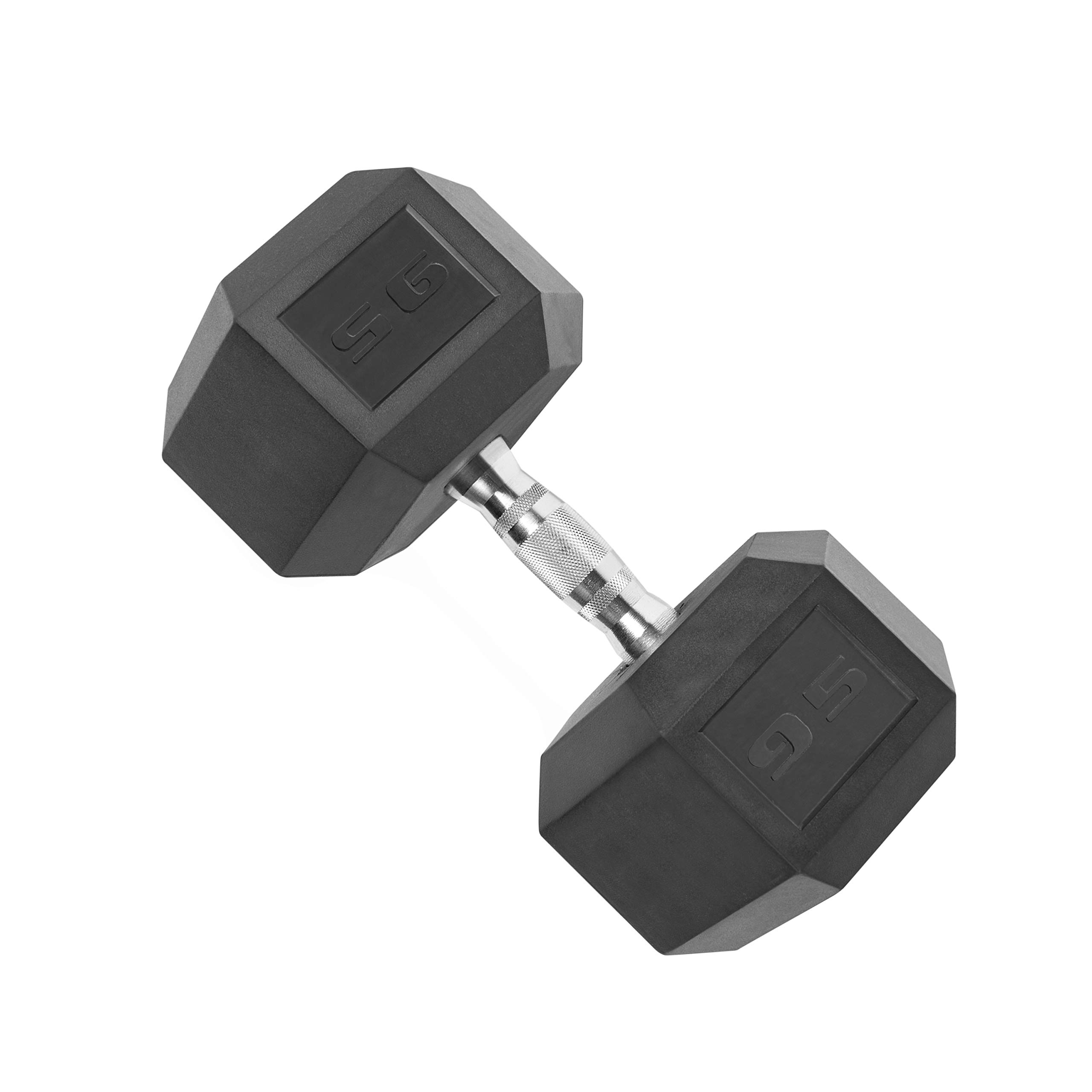 CAP Barbell SDR-095 Rubber Coated Hex Dumbbell with Contoured Chrome Handle (95-Pound), Black