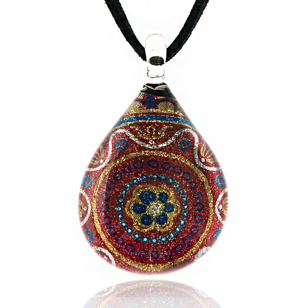 Chuvora Hand Blown Venetian Murano Glass Multi-Color Pink Flower Mandala Art Pendant Necklace, 17-19 inches