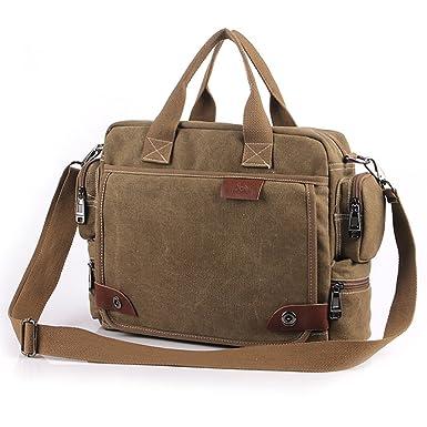 ebd8866679 Yilooom Solid Khaki Casual Vintage Multifunction Trunk Men s Canvas Travel  Crossbody Shoulder Messenger Bag Handbag for Men  Amazon.co.uk  Clothing
