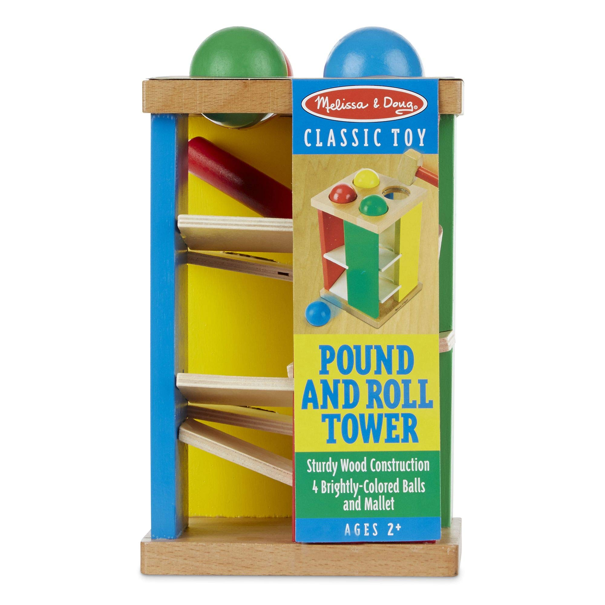 """Melissa & Doug Pound & Roll Tower, Developmental Toy, Classic Pounding Toy, Bright-Colored Pieces, Durable Construction, 10"""" H x 5.65"""" W by Melissa & Doug (Image #5)"""