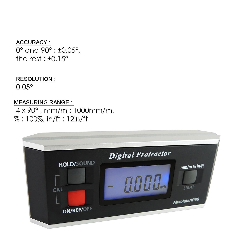 Angle Finder Level Protractor Inclinom/ètre magn/étique V-Groove 0 ~ 360 degr/és avec r/étro-/éclairage
