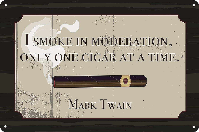 "Toothsome Studios One Cigar at A Time Man Cave Tin Sign 12"" x 8"" Mark Twain Quote Cigar Lounge Garage Bar Smoke Shop Decor"