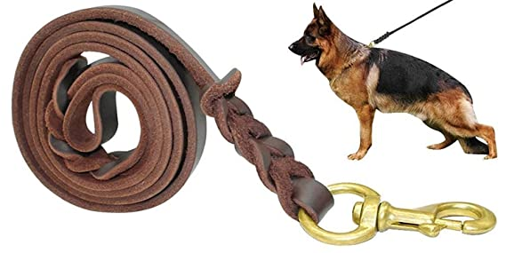 Fairwin Braided Leather Dog Lead - 1.7M Military Grade Genuine Leather Dog Training Lead for Large Medium Small Dogs (Width1.5cm,Brown)